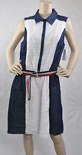 Luxology NWT Sleeveless Belted Eyelet Denim Casual Dress Blue White Size 12