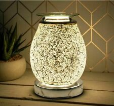 Electric Wax Melt Burner Aroma 3D Lamp Silver Mosiac Mirror Finish Touch Control