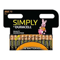 12 X DURACELL AAA LONG LASTING POWER ALKALINE BATTERIES SIMPLY PACK LR6 MN1500