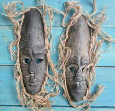 2 AFRICAN WOOD MASKS HAND CARVED HOME DECOR TRIBAL ART