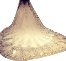 NEW 3m Luxury 1T Cathedral Wedding Lace Sequins Long Veil With Comb US