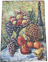 ANTIQUE EARLY OIL ON BOARD PAITING OF FRUIT STAND & WINE BOTTLE