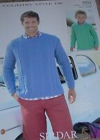 Original Sirdar Knitting Pattern Man & Boy's DK Patterned Sweater No 7033