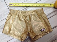 CRAZY PANTS Child Small gymnastics Gold cheer booty leotard shorts Crazy Pants