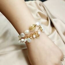 Women Fashion Bracelet Natural Baroque Pearls Chain Bridal Wedding Party Jewelry