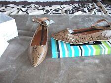 Señoras Impresión De Piel De Serpiente Tira al Tobillo Zapatos Talla 4 Nuevo