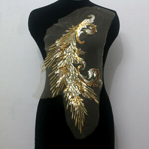 10 Pieces Gold/Yellow Embroidery Peacock Tail Floral Sequin Trimming Applique