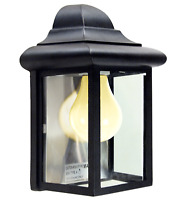 "Outdoor Porch Light LED Bulb 9"" Black Fixture with Clear Glass Panes    458-06"