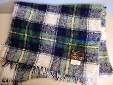 Vintage Handwoven Mohair Throw Blanket Scotland Hand Acraft Green Plaid Check