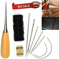 10X Sewing Needles Stitching Leather Waxed Thread Cord Sew Drilling Thimble Tool
