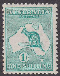 1/- Green 1st watermark Kangaroo. Vibrant shade. SG 11
