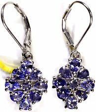 Tanzanite Lever Back Earrings in Platinum Overlay Sterling Silver 3.32 Cts