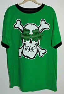 THE CHILDREN'S PLACE Green Skull & Cross Bones Short Sleeve Shirt Boy's XL 14