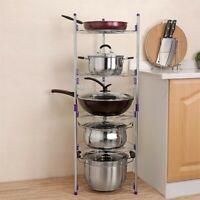 5 Tier Pan And Pot Lid Organizer Rack Holder Stainless Steel Kitchen Storage