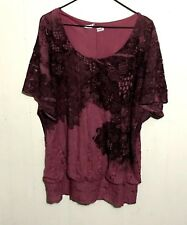 Maurices Women's Plus Size 2X 2 Pink Layered Floral Lace Boho Shirt Top Blouse