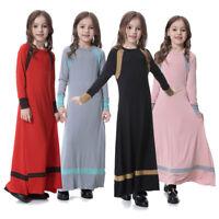 Kids Girls Muslim Abaya Longsleeve Prayer Dress Islamic Vintage Jilbab Maxi Robe
