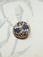 Grand bouton ancien en métal émaillé à décor de fleurs - Art Nouveau jugendstil