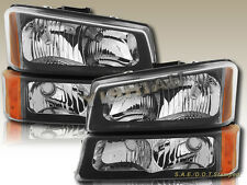 03-06 Chevy Silverado 1500 2500 3500 Headlights Black Housing Clear Lens 4 Pcs