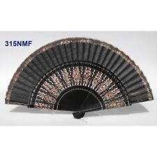 Hand fan in wood black-brown cotton with designs floral patterns. Suitable for