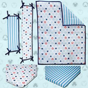 Disney Baby Bedding Mickey Mouse 4-Piece (W/BUMPER) Portable Crib Bedding Set