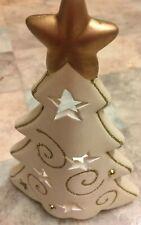Ceramic Christmas tree glitter sparkle tea light candle holder