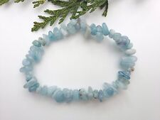 A Grade Genuine Aquamarine Crystal Chip Bead Bracelet - Protection - Stress