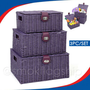 SET OF 3 Storage Baskets Resin Wicker Woven Hamper Tidy Box With Lid & Lock New