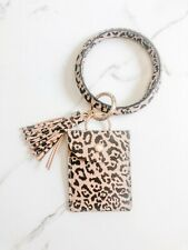 Brown Leopard Leather Wristlet Keychain Bracelet with Tassel and Card Holder NEW
