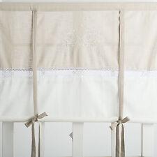 FLORA OFF WHITE BESTICKT Raffrollo 160x120cm Raffgardine Landhaus Shabby Franske