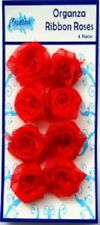 Creative Expressions ORGANZA RIBBON ROSES  8 pieces RED RR021