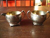 Art Deco Milch & Zucker Set Milchkännchen + Zuckerdose Zuckertopf silber shabby