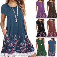 Women Short Sleeve Floral Lace Dress Casual Tops Blouse Swing T Shirt Sundress