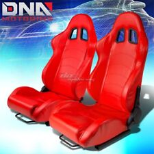 PAIR TYPE-1 L+R PVC LEATHER RED FULLY RECLINABLE RACING SEAT/SEATS W/2X SLIDERS