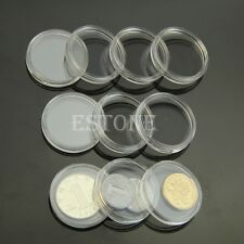 Hot 10pcs 26mm Clear Round Cases Coin Storage Capsules Holder Round Plastic