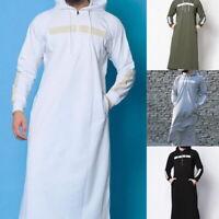 Men's Thobe Robe Muslim Abaya Islamic Kaftan Full Length Hooded Arab Clothes 03