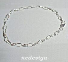 925 Sterling Silber Damen Ankerkette Sammel Armband für Charms - 19 cm + Etui