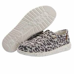 Hey Dude Wendy Woven Cheetah Grey Lightweight Casual Comfy Slip On Women's Shoes