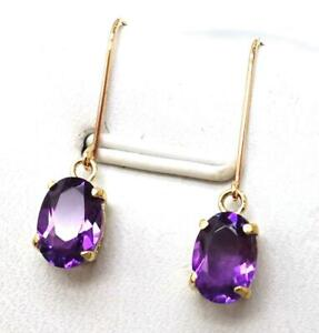 SYJEWELLERY FINE 9CT SOLID YELLOW GOLD OVAL NATURAL AMETHYST DROP EARRINGS E803