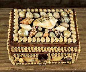 RARE 1903 Iowa State Fair Victorian Sailors Shell Art Valentine Dresser Box NR