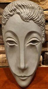 """MCM Evaline Sellors Dewitt Mckinley Aluminium Mask Letitia Sculpture 14"""" RARE!"""