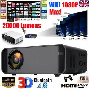 WiFi Bluetooth 3D Full HD 1080P LED Projector Home Theater Cinema AV/VGA/HDMI UK