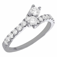 14K White Gold Two Stone Bypass Diamond Love & Friendship Engagement Ring 3/4 Ct