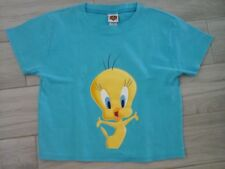 Looney Tunes Junior Solid Turquoise Cap Sleeve Cotton Crop Top T-Shirt   Size L