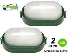 2 x LED Bunker Lights Outdoor Plain Glass Oval Metal Aluminium Small Green IP44