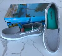 New women's Margaritaville Tahiti Stone Memory Foam Canvas Boat Shoes US Size7.5