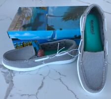 New women's Margaritaville Tahiti Stone Memory Foam Canvas Boat Shoes US Size 6