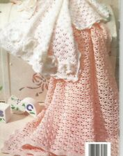 Crochet Pattern Baby Lacy Blanket/Shawl & Shell Stitch/Flower Pram Cover  DK