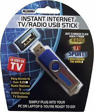 New IdeaWorks Instant Internet TV & Radio USB Stick for Computer Sports 10,000