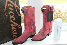 LUCCHESE NV7057 COWBOY BOOT RED/BLACK CHEETAH #9us $489