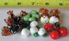 24 Autumn Harvest Lampwork Glass Beads Scarecrow - Crow Owl - Gourd